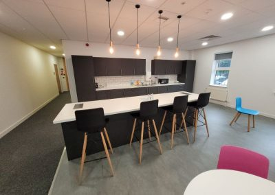 Attractive communal kitchen at Cheadle Business Park to rent