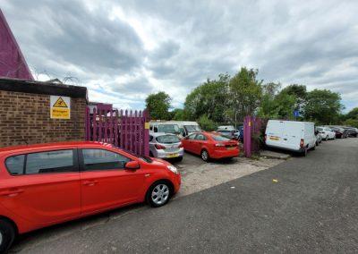 Rear yard at Unit 1 Victory Park Failsworth - car garage investment sale